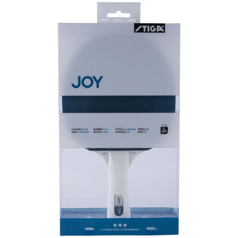 Stiga Joy 3* Bordtennisbat bat, blå/hvid