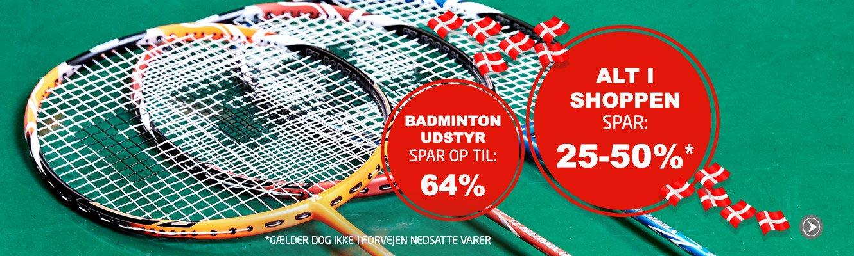 Alt* badmintonudstyr spar min. 25%